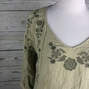 Soft Surroundings Tops - Soft Surroundings Green Floral Embroidered Tunic